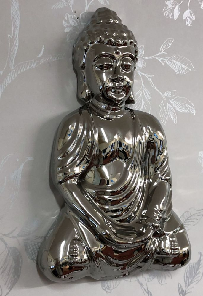 Mirrored 22cm Meditation Buddha Home | Garden Wall Art